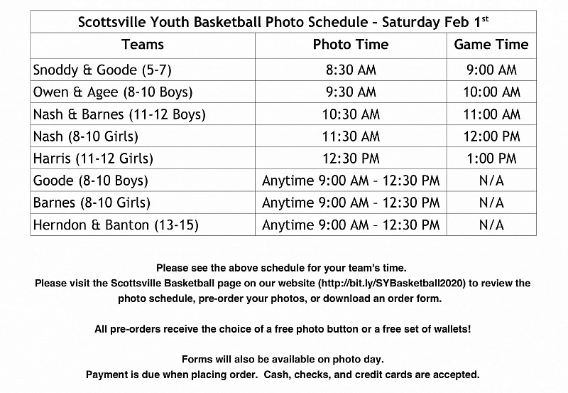 PRE ORDER: Scottsville Youth Basketball